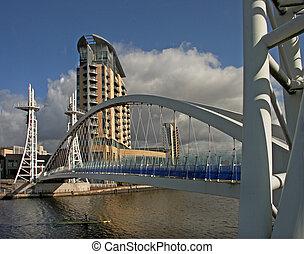 Bridge at Salford - The pedestrian bridge at Salford Quays,...