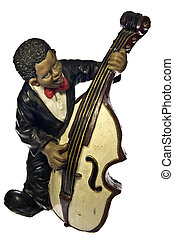 Bass - Musician touching a bass of ceramic isolated on white...
