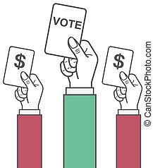 vector hand holding vote label, government corruption,...