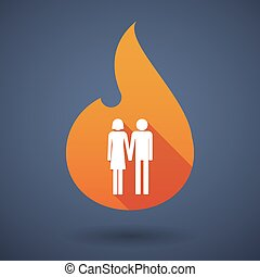 Long shadow vector flame icon with a heterosexual couple...