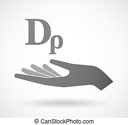 Isolated vector hand giving a drachma currency sign -...