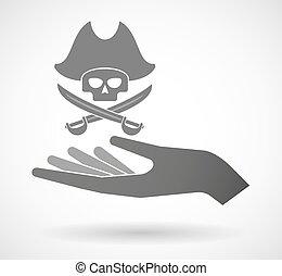 Isolated vector hand giving a pirate skull