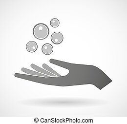 Isolated vector hand giving oocytes - Illustration of an...