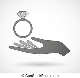 Isolated vector hand giving an engagement ring