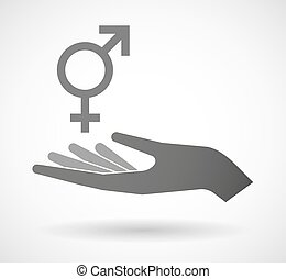 Isolated vector hand giving a transgender symbol -...
