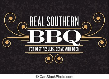 Real Southern Barbecue Emblem - Decorative Real Southern BBQ...