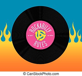 Rockabilly Rules Record Design - Vector design featuring...