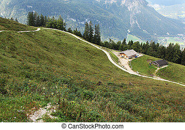 narrow path in the mountains near hut bavaria germany