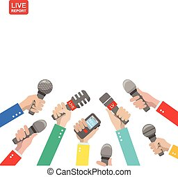 Live report concept, live news, hot news, news report, hands...