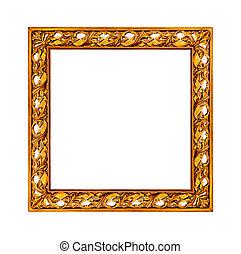 gyllene, kanfas, gammal, bild, foto, ram, din, avbild, tom