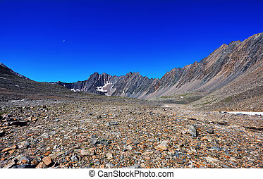Stone desert in the mountains of eastern Siberia. Sayan...