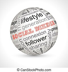 Social media theme sphere with keywords full vector