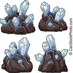 Rocks with crystals. Vector clip art illustration with...