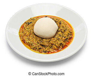 egusi soup and pounded yam, nigerian cuisine isolated on...