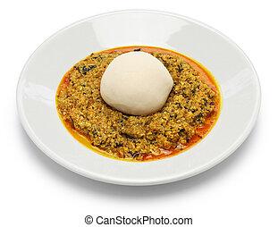 egusi, ñame,  nigeria,  pounded, sopa
