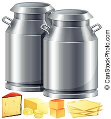 Dairy products with milk and cheese illustration