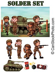 Soldiers with gun in the field illustration