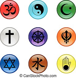 Religion Icons Glossy Button Set - Vector graphic glossy...