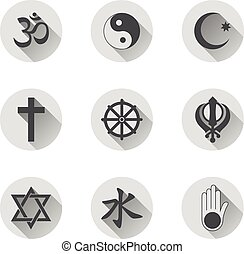 Religious Symbols Flat Icon Set - Vector graphic glossy...