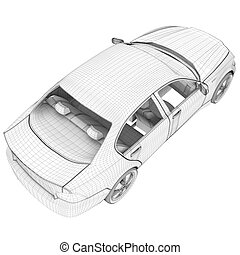 Car on white, top view - Car on isolated white background,...