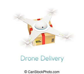 Remote air white modern drone with a box flying against...