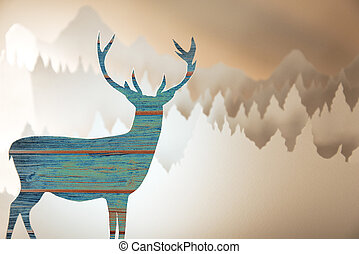 Merry christmas new year paper cut deer forest - Merry...