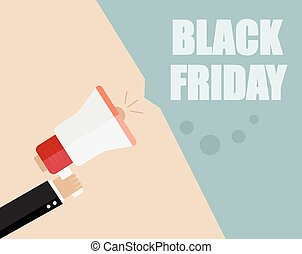 black friday. Businessman hand holding a megaphone, News and...