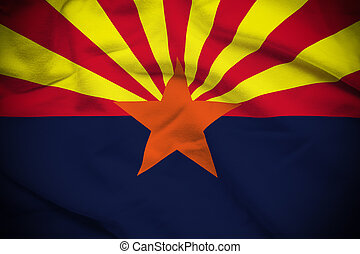 Arizona Flag - Wavy and rippled national flag of Arizona...