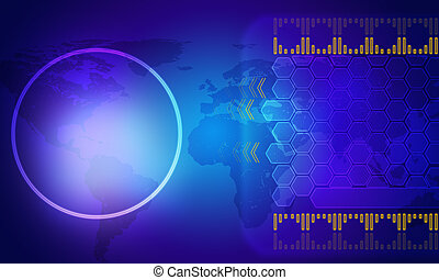 Blue holographic screen with world map and circle
