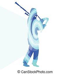 Bagpiper Scottish man silhouette illustration vector...