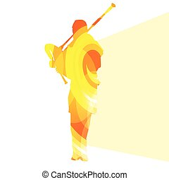 Bagpiper Scottish man silhouette illustration vector...