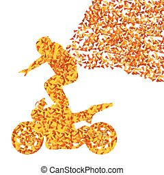 Stunt motorcycle rider performance vector background concept...