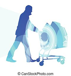 Man with shopping cart full of bags silhouette illustration...