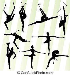 Female woman modern rhythmic gymnastics art with Indian...