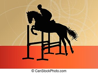 Jumping horses with jockey equestrian sport vector background
