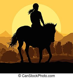 Horse with rider countryside landscape equestrian sport vector background
