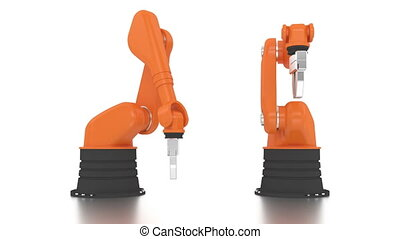 Industrial robotic arms building brand word on white...