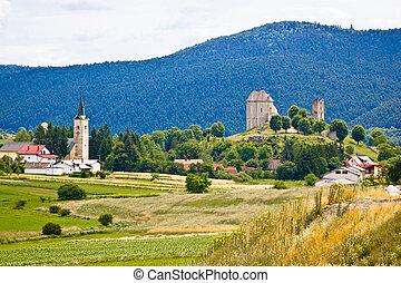 Brinje village in nature of Lika, Croatia