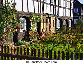 half-timbered house  - an wooden old half-timbered house