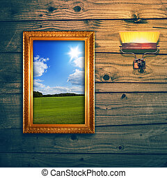 Idyllic landscape exposition on wooden wall