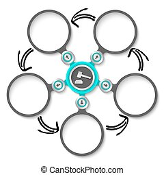 Five abstract circular text boxes and lawyer symbol