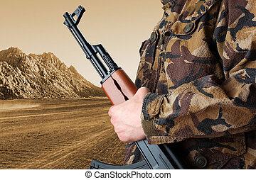 soldado,  ak-47, tenencia,  rifle