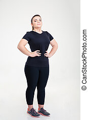Fat woman in sports wear - Full length portrait of a fat...