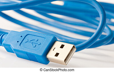 USB cable - Close-up view of a blue USB cable