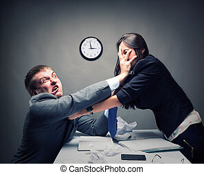 Fight - Two young caucasian office worker starting to fight