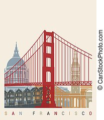 San Francisco skyline poster in editable vector file