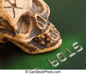 Bankruptcy concept. Human skull on credit card