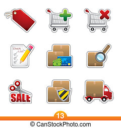 Sticker series 13 - internet shopping - Icon set from a...