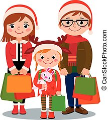 Family with Christmas shopping