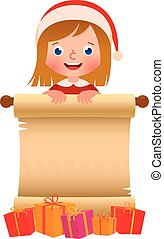 Little girl in Santa Claus hat with a scroll and boxes of Christmas gifts